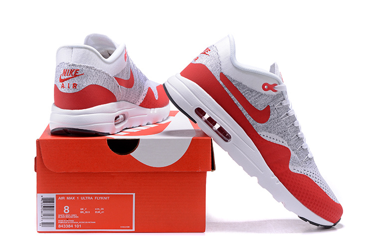 Nike Air Max 1 Ultra Flyknit OG Men Women Running Shoes White Pure Platinum Grey University Red 843384 101