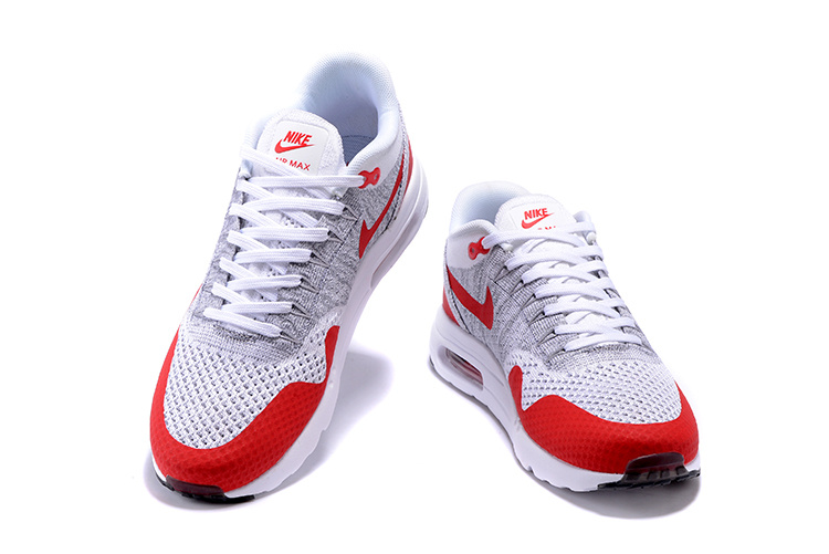 huge discount 42363 3c9c4 ... Nike Air Max 1 Ultra Flyknit OG Men Women Running Shoes White Pure  Platinum Grey University ...