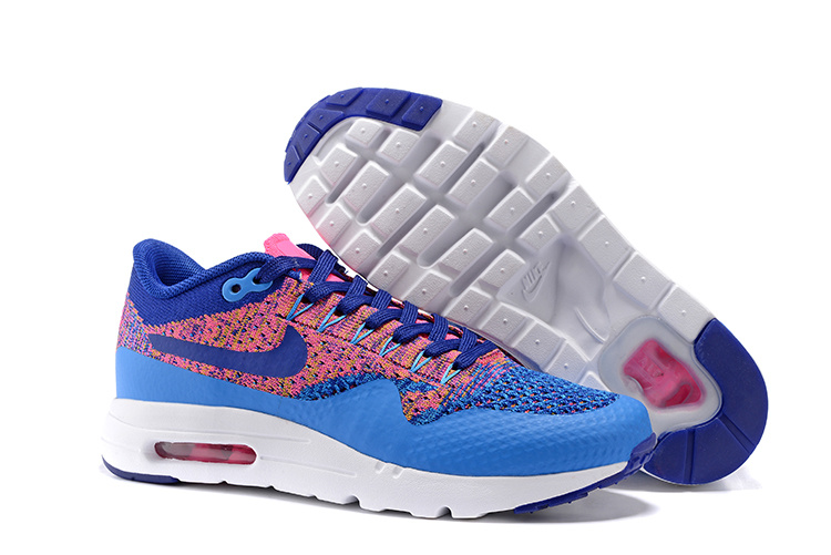 Nike Air Max 1 Ultra Flyknit WMNS Running Shoes Photo Blue Navy Pink Womens Sneakers Trainers 843387 400