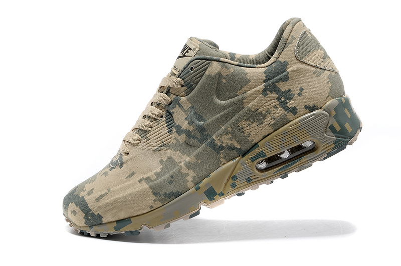 Nike Air Max 90 Camouflage Green Beige Men Running Shoes