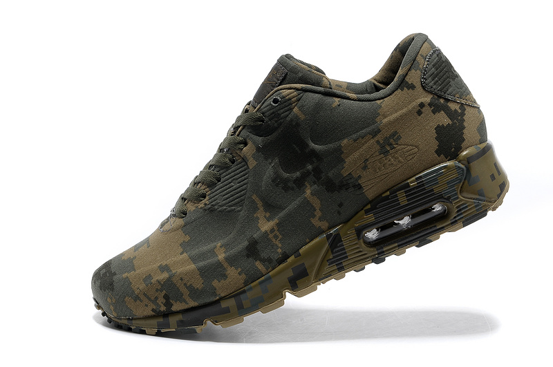 Nike Air Max 90 Camouflage Green Coffee Men Running Shoes