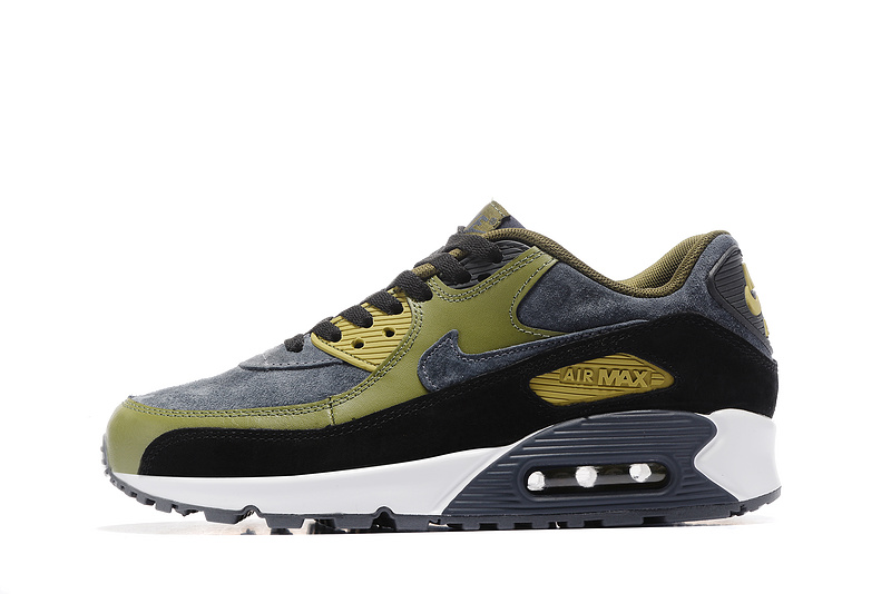 Nike Air Max 90 LTHR carbon grey army green black Men Running Shoes 683282 020