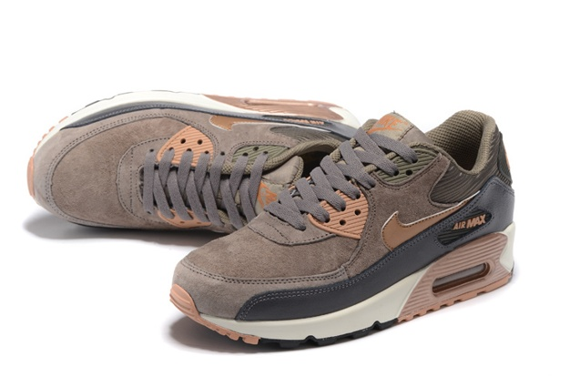 Nike Air Max 90 Leather Women Men Shoes Red Bronze Sail Oatmeal 768887 201