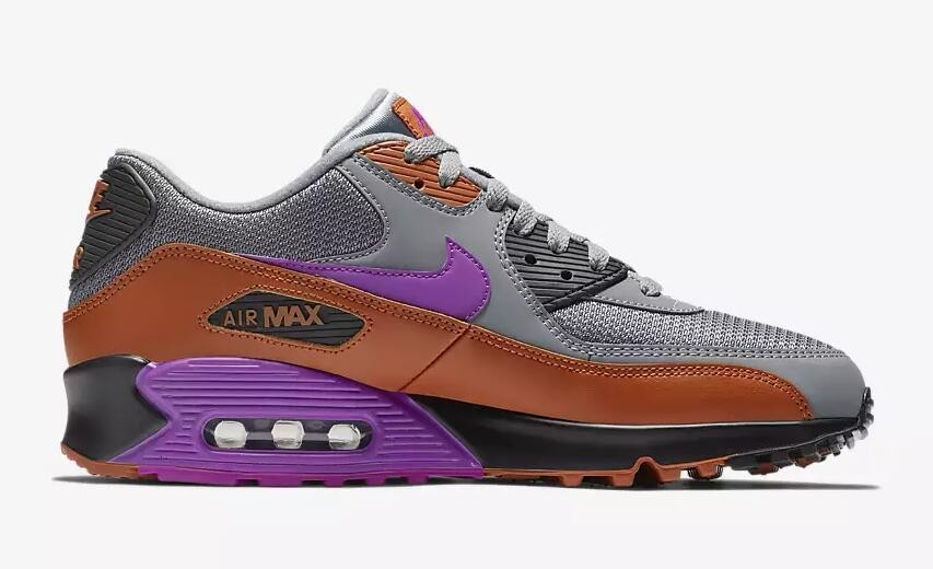 SALE NIKE AIR MAX 90 ESSENTIAL COOL GREY VIVID PURPLE BROWN AJ1285 013 NEW MENS