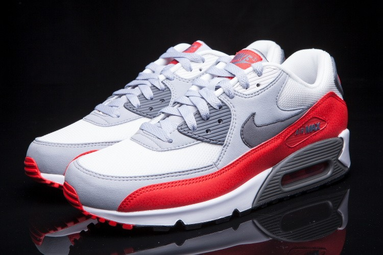 Nike Air Max 90 Essential Wolf Grey Challenge Red White 537384 039