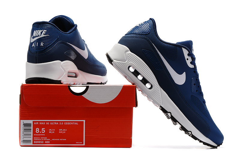 release info on online for sale reasonable price Nike Air Max 90 Ultra 2.0 Essential blue white men Running Shoes ...