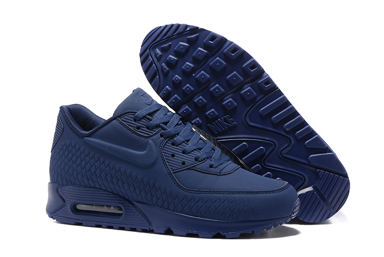 a614195a2a Nike Air Max 90 Woven Men Training Running Shoes Navy Blue 833129 ...