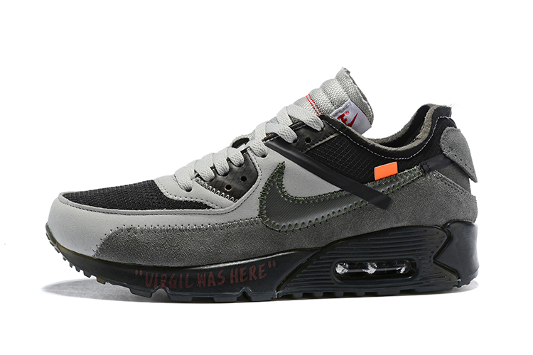 OFF WHITE x Nike Air Max 90 OW Men Running Shoes Black Grey