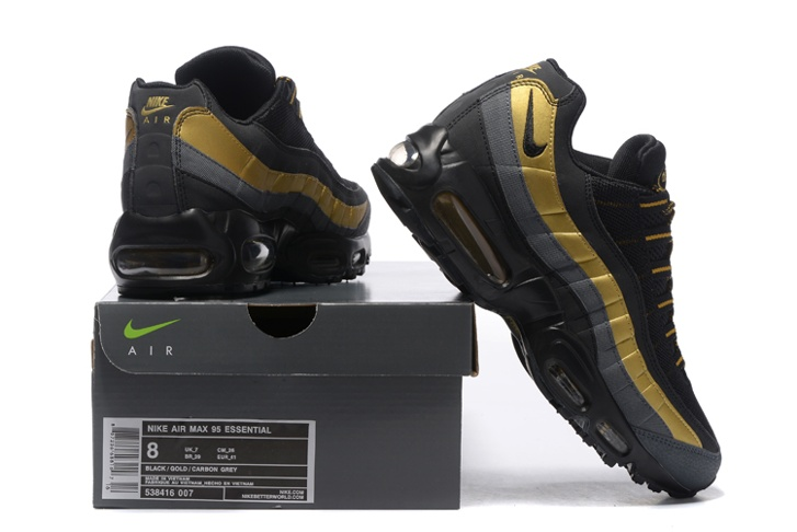 Nike Air Max 95 PRM Black Metallic Gold Anthracite Bronze 538416 007