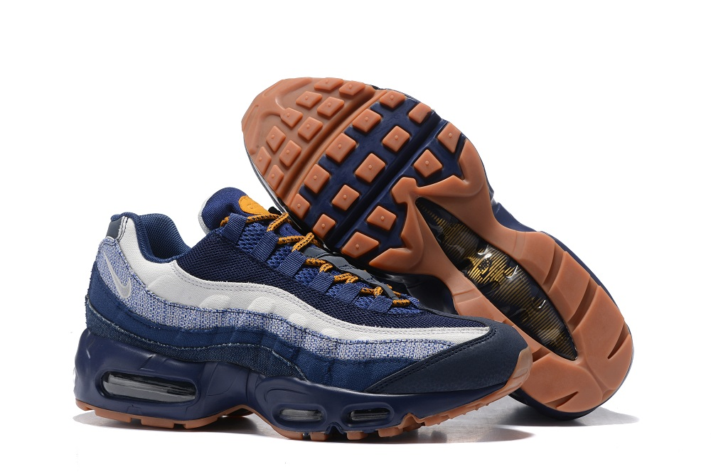 de656a4ab845 Nike Air Max 95 Essential White Navy Blue Yellow Men Shoes 749766 ...