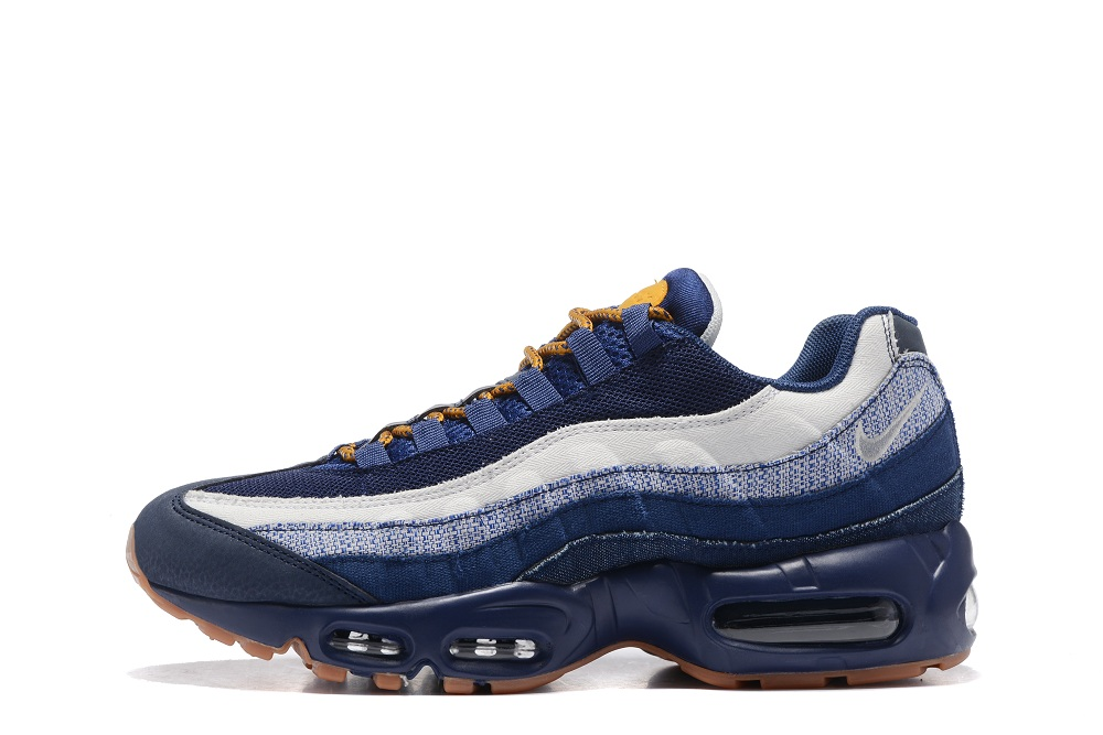 hot sale online a0026 086f7 Nike Air Max 95 Essential White Navy Blue Yellow Men Shoes 749766