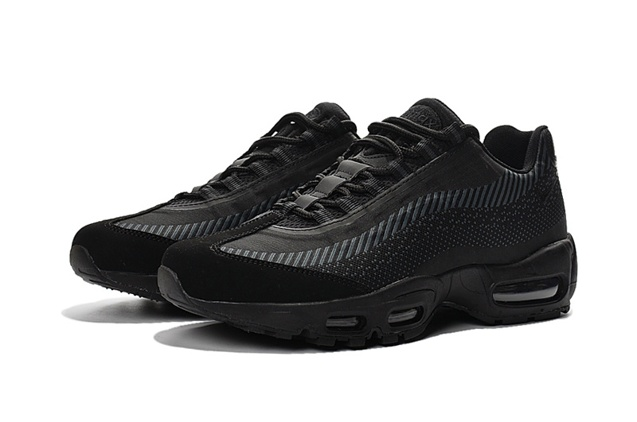 los angeles first rate preview of Nike Air Max 95 Jacquard All Black Men DS Running Shoes 644793-100 ...