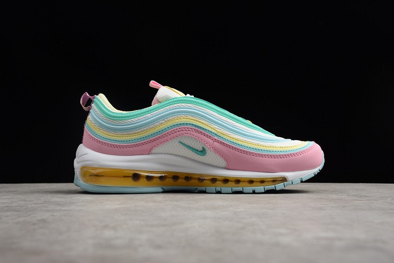 Womens Nike Air Max 97 Pink White Yellow Green Trainers in