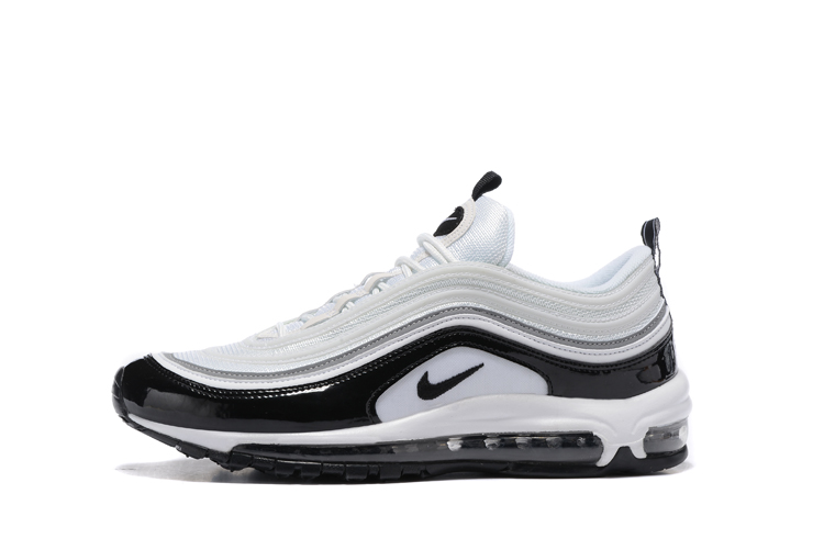 Nike Air Max 97 Pure White Black Men Running Shoes Sneakers Trainers 312641 006