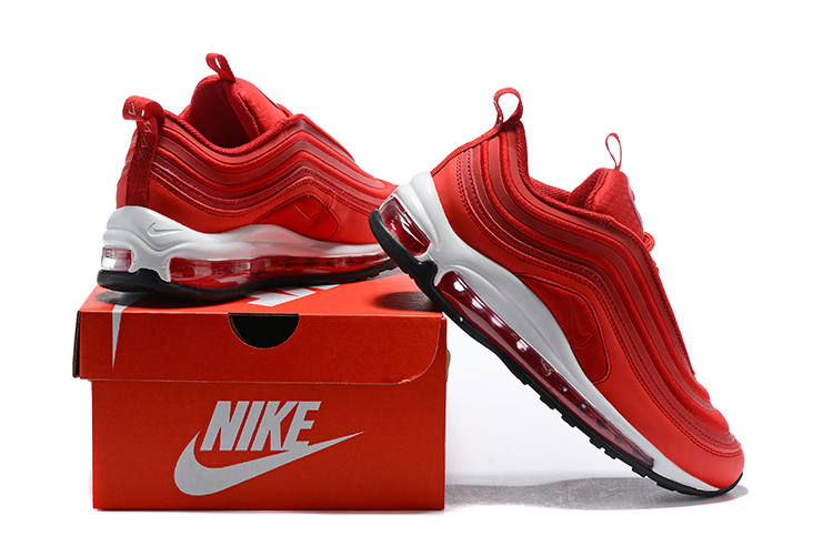 Nike Air Max 97 Unisex Running Shoes Chinese Red All White