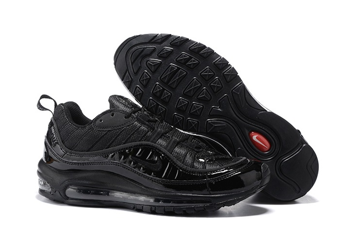 91e587de45 NikeLab x Supreme Air Max 98 Men Running Shoes All Black Sneakers ...