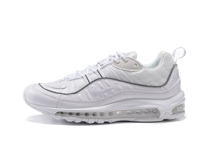 Supreme x Nike Air Max 98 Men Shoes White Grey Reflect Silver 844694 002