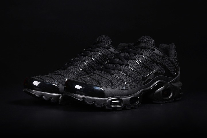 0003887b220f1 Nike Air Max Plus TN KPU Tuned Men Sneakers Running Trainers Shoes All Black