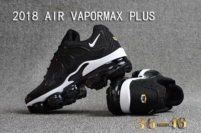 64fe584454f Nike Air Vapor Max Plus TN TPU Running Shoes Hot Black White - Sepsport
