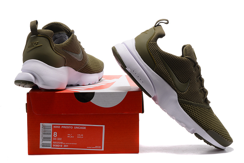 Nike Air Presto Fly Uncage Army green white men Running Walking Shoes 908019 201