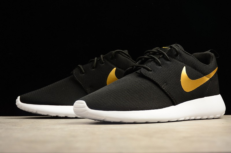detailed look a9639 12d38 Nike Roshe Run One Casual Shoes Black Gold Sail 844994-996