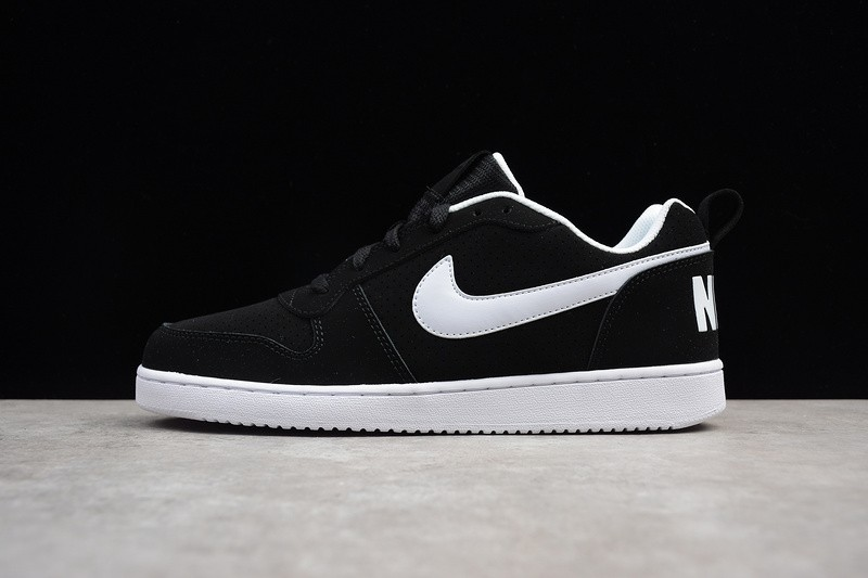 new style e481a 00757 Prev Nike Court Borough Low Black White Leather Basketball Shoes 838937-010