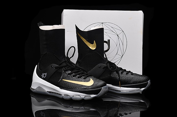 sneakers for cheap 3522d 5bfdd Nike KD 8 Elite Away VIII Men Basketball Shoes High Black Gold Edition  834185-071