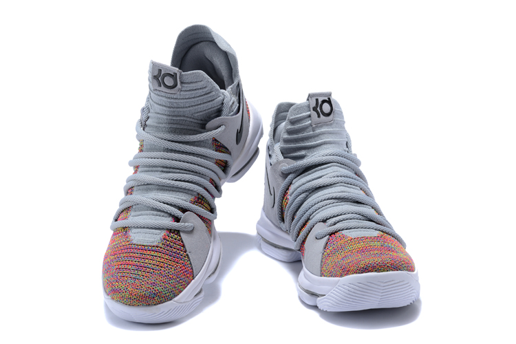 designer fashion 20eec 80b4b ... Nike Zoom KD X 10 Men Basketball Shoes Grey Deep Orange Black New ...