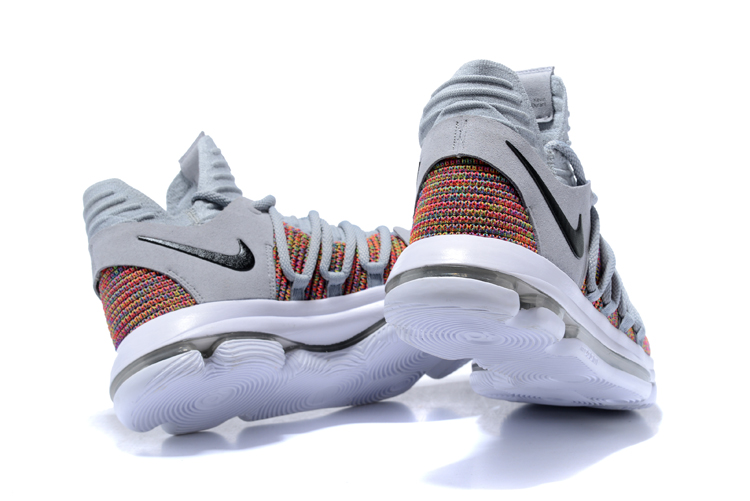 sale retailer b76a9 dbd64 ... Nike Zoom KD X 10 Men Basketball Shoes Grey Deep Orange Black New
