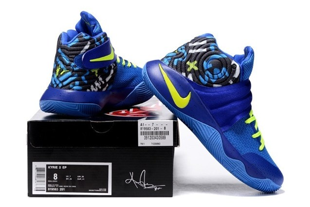 huge discount 6e533 924d0 Nike Kyrie 2 II Effect EP Ivring Blue Yellow Men basketball Shoes 819583 201