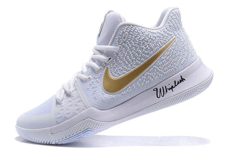 Nike Zoom Kyrie III 3 Men Basketball Shoes White All Gold