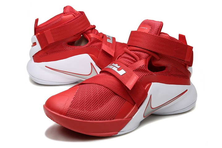 free shipping 683f0 67a42 ... Nike Lebron Soldier IX 9 TB EP Jamens OSU Home Men Basketball Shoes Red White  Silver ...