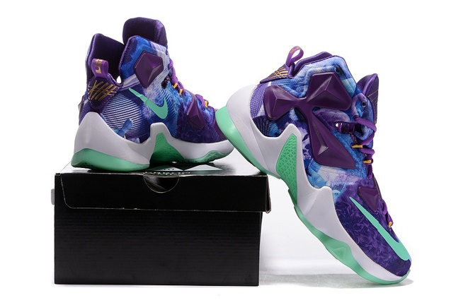 d615d010450d ... Nike LeBron 13 EP NikeId 25K Purple Flower Green Basketball Shoes 823301  ...