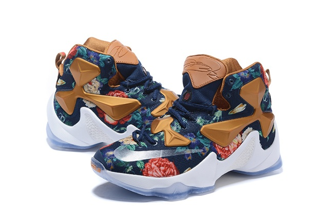 the latest 4be39 87f56 Nike Lebron XIII LBJ13 AS 2016 Flower Blue Gold White Men Basketball Shoes  835659
