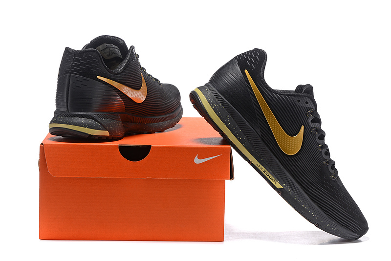 separation shoes c5131 c3b4f ... Nike Air Zoom Pegasus 34 Leather Black Metal Gold Men Running Shoes  Sneakers 831351 ...