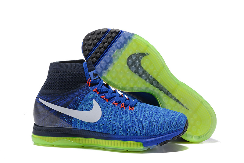 new product 06bce 35fe2 Prev Nike Zoom All Out Flyknit Navy Blue Spring Green Men Running Shoes  Sneakers Trainers 844134-. Zoom