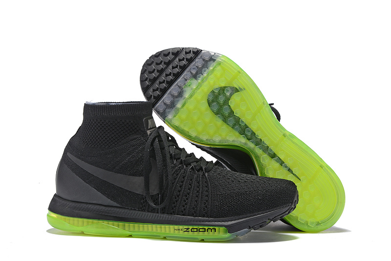 buy online 39cd4 7d4d4 Nike Zoom All Out Flyknit Pure Black Spring Green Men Running Shoes ...