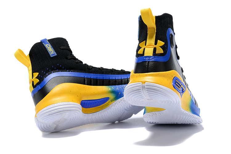 detailed look 6accf 5dfd5 Under Armour UA Curry 4 IV High Men Basketball Shoes Royal Blue Yellow  Black Hot New